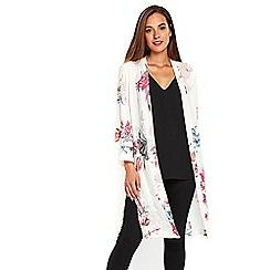 Wallis - Cream floral print kimono jacket