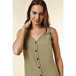 Wallis - Khaki button through camisole top