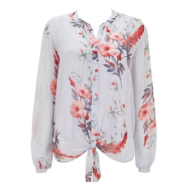 Grey top floral front tie Wallis adqxw6Opp