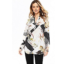 Wallis - Monochrome polka dot  floral shirt