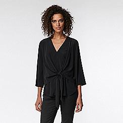 Wallis - Black tie front blouse