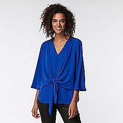 Wallis - Blue tie front blouse