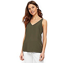 Wallis - Khaki v-neck camisole top