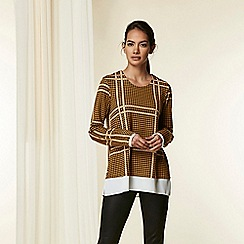Wallis - Ochre check 2 in 1 top