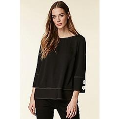 Wallis - Black contrast stitch top