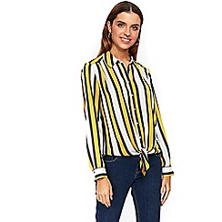Wallis - Yellow stripe tie front shirt