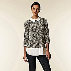 Wallis - Monochrome jacquard 2-in-1 blouse
