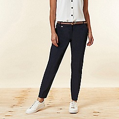 Wallis - Navy Belted Cigarette Trousers