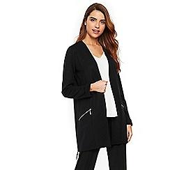 Wallis - Black zipped morgan longline jacket
