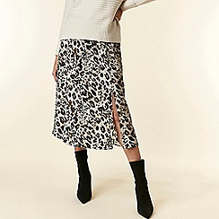 Wallis - Stone leopard print split front midi skirt