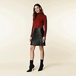 Wallis - Black leather look a-line skirt