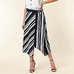 Wallis - Blue stripe asymmetric midi skirt