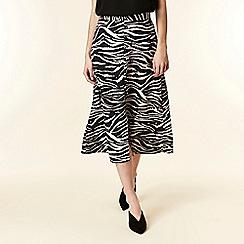 Wallis - Black zebra print midi skirt