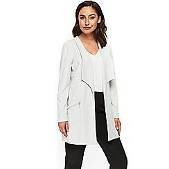 Wallis - Grey envelope collar longline jacket