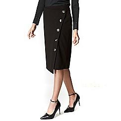 Wallis - Black asym button pencil skirt