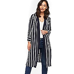Wallis - Navy and ivory striped duster jacket