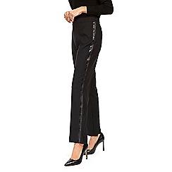 Wallis - Black satin sport striped trouser