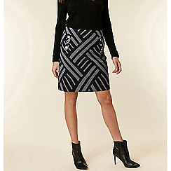 Wallis - Grey geometric jacquard a-line skirt