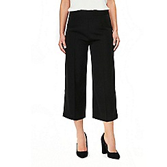 Wallis - Black wide leg crop trouserss