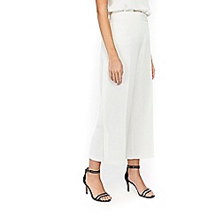 Wallis - Ivory wide leg crop trousers