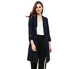 Wallis - Navy drape collar duster jacket