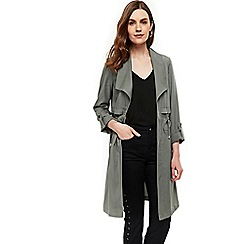 Wallis - Olive drape collar duster jacket