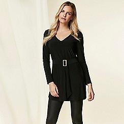 Wallis - Black belted tunic top