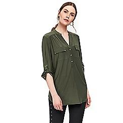 Wallis - Khaki longline shirt