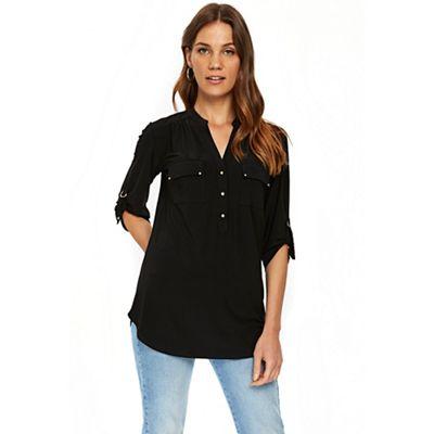 Wallis   Black Longline Shirt by Wallis