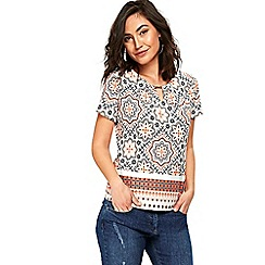 Wallis - Orange tile print bead shell top
