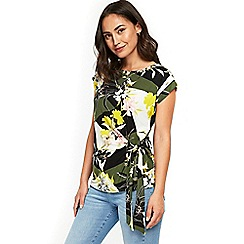 Wallis - Khaki geometric floral tie top