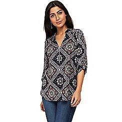 Wallis - Navy printed zip shirt
