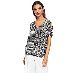 Wallis - Monochrome tribal print patchwork t-shirt