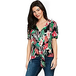 Wallis - Tropical tie front shirt