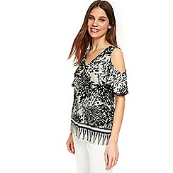 Wallis - Neutral palm border cold shoulder top