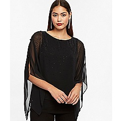 Wallis - Black embellished button layered top