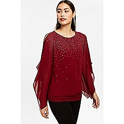 Wallis - Berry embellished button layered top