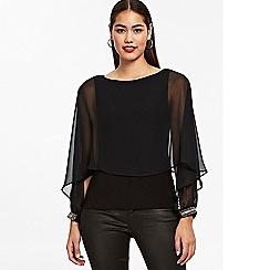 Wallis - Black embellished cuff layered top