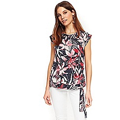 Wallis - Navy tropical lily burnout tie side top