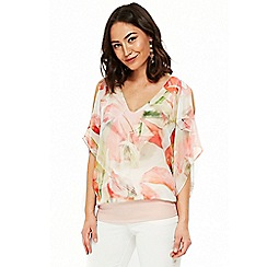 Wallis - Peach floral overlayer top