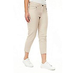 Wallis - Stone zip pocket cropped trousers