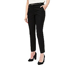 Wallis - Black belted cigarette trousers