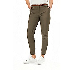 Wallis - Khaki belted cigarette trousers