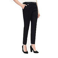 Wallis - Navy cotton stretch cigarette trousers