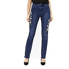 Wallis - Floral embroidered jeans