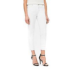 Wallis - White fray hem jeans