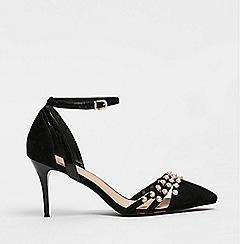 Wallis - Black pearl trim court shoes