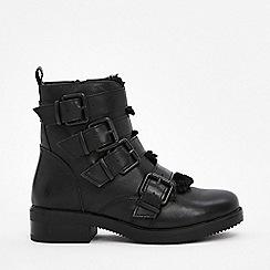Wallis - Black buckle biker boots