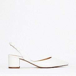 Wallis - White Slingback Block Heel Court Shoes
