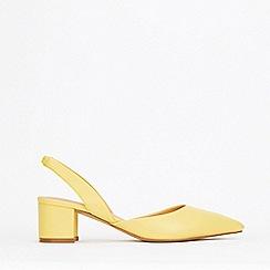 Wallis - Yellow Slingback Block Heel Court Shoes